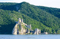Golubac fortress on the danube shore in serbia europe Stock Photos