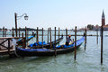 Gondola blue in venice Royalty Free Stock Photos