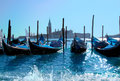 Gondola boats in Venice harbor Stock Photo
