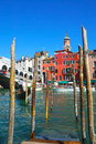 Gondola and famous rialto bridge in venice italy Royalty Free Stock Photos