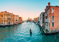 Gondola on Grand Canal in Venice Royalty Free Stock Photo