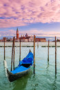 Gondola on Grand Canal in Venice, Italy. Royalty Free Stock Photo
