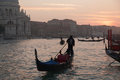 Gondola in the grand channel near basilica santa maria della salute dorsoduro venice Royalty Free Stock Image