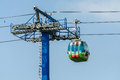 Gondola lift cable and tower a near aerial car supported propelled by cables from above Royalty Free Stock Photo