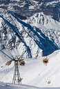 Gondola lift on high mountain ski resort Stock Photography