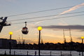 Gondola lift in london over thames uk the evening Stock Image