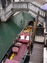 Gondola moored on the canals of Venice