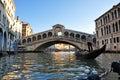 Gondola near Rialto Bridge, Venice Royalty Free Stock Photo