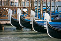 Gondola prows in Venice Royalty Free Stock Photo
