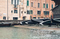 Gondola repair yard venice italy Stock Photo