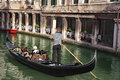 Gondola and restaurant in Venice Royalty Free Stock Photo