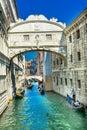 Gondola Touirists Colorful Side Canal Bridge Sighs Venice Italy Royalty Free Stock Photo