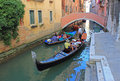 Gondola venice with tourist on canal in italy Stock Images