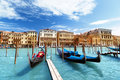 Gondolas on canal and basilica santa maria della salute venice in italy Royalty Free Stock Photo