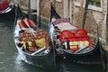 Gondolas in the canals of venice veneto italy Royalty Free Stock Photo