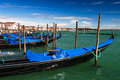 Gondolas docked in piazza san marco venice on the dock of international landmark of italy Stock Images