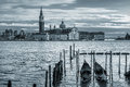 Gondolas on grand canal and san giorgio maggiore church two background in venice italy Royalty Free Stock Photography