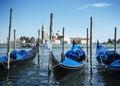 Gondolas on Grand Canal and San Giorgio Maggiore church in Venice, Italy Royalty Free Stock Photo
