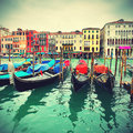 Gondolas on grand canal venice italy retro style Stock Photography