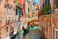Gondolas on lateral narrow Canal in Venice, Italy Royalty Free Stock Photo