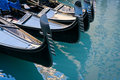 Gondolas moored at Bacino Orseolo in Venice Royalty Free Stock Photography