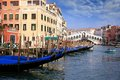 Gondolas in the rialto bridge grand canal of venice Stock Photography