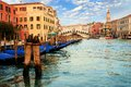 Gondolas in the rialto bridge grand canal of venice Royalty Free Stock Photo