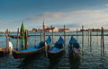 Gondolas san giorgio maggiore church grand canal venice Royalty Free Stock Photography