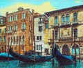 Gondolas in Venice on the backgrownd of old houses