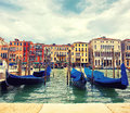Gondolas in venice beautiful quay with italy Stock Photos