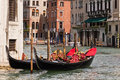 Gondolas on Venice Grand Canal Royalty Free Stock Photo