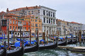 Gondolas in venice grand canal italy Stock Images