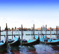 Gondolas in venice italy summer day Royalty Free Stock Image