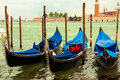 Gondolas in venice italy traditional parked front of saint marks square Stock Images