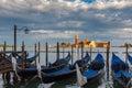 Gondolas in Venice lagoon after the storm, Italia Royalty Free Stock Photo