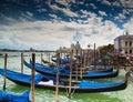 Gondolas in venice with san giorgio di maggiore church the background Royalty Free Stock Image