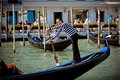 Gondolier in Venicy city, Italy Stock Photos