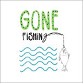 Gone fishing hand drawn vector illustration with a fish a rode and waves hand written lettering Stock Images