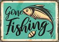 Gone fishing vintage decorative sign template Royalty Free Stock Photo