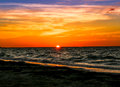 Almost gone the sun at a yucatan peninsula beach Royalty Free Stock Photos