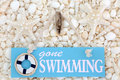 Gone Swimming Sign on Seashells Royalty Free Stock Photo