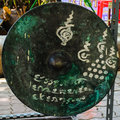 Gong ancient in bandkhaeyai temple samudsongkham thailand Royalty Free Stock Photo