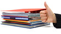 Good accounting or bussiness with thumb up on file service and folders Stock Image