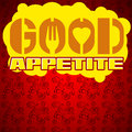 Good appetite typographic poster design with meat pattern on the background Stock Image