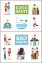 Good and bad habits poster set vector illustration Royalty Free Stock Photo