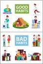 Good and Bad Habits Poster Vector Illustration Royalty Free Stock Photo