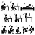 Good and Bad Human Body Posture Stick Figure Picto Stock Photo