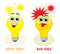 Good and bad idea Stock Image