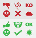 Good bad symbols set Stock Photography