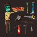 Good and bad zombie character. Cartoon vector illustration